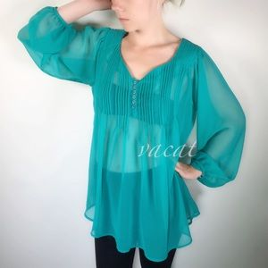 Romeo & Juliet Couture Teal Sheer Tunic Top